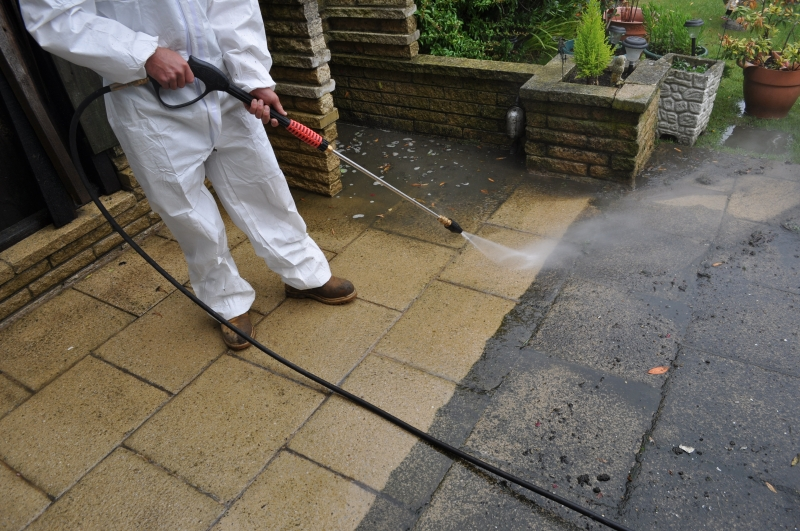 pressure washing the house